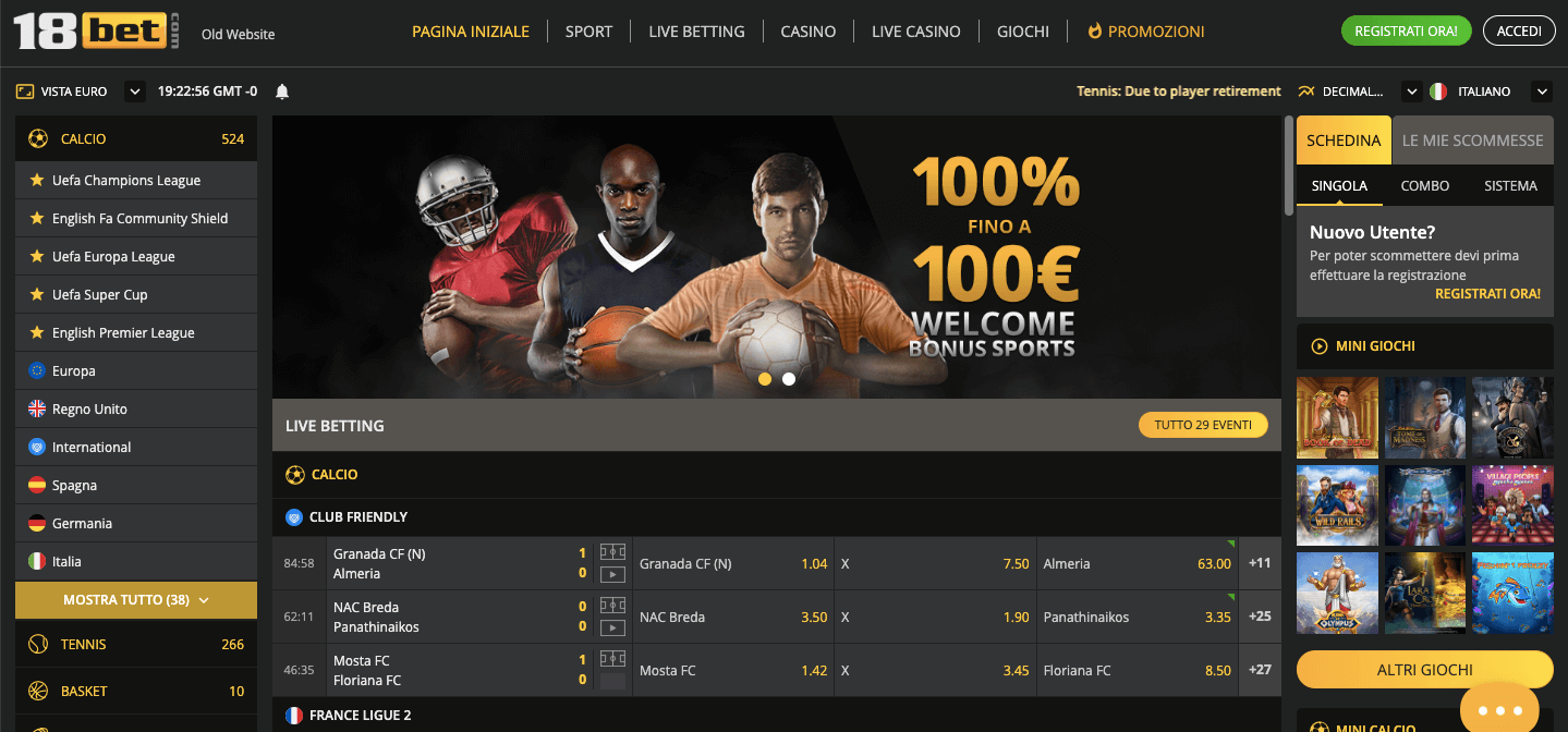 18Bet Scommesse live