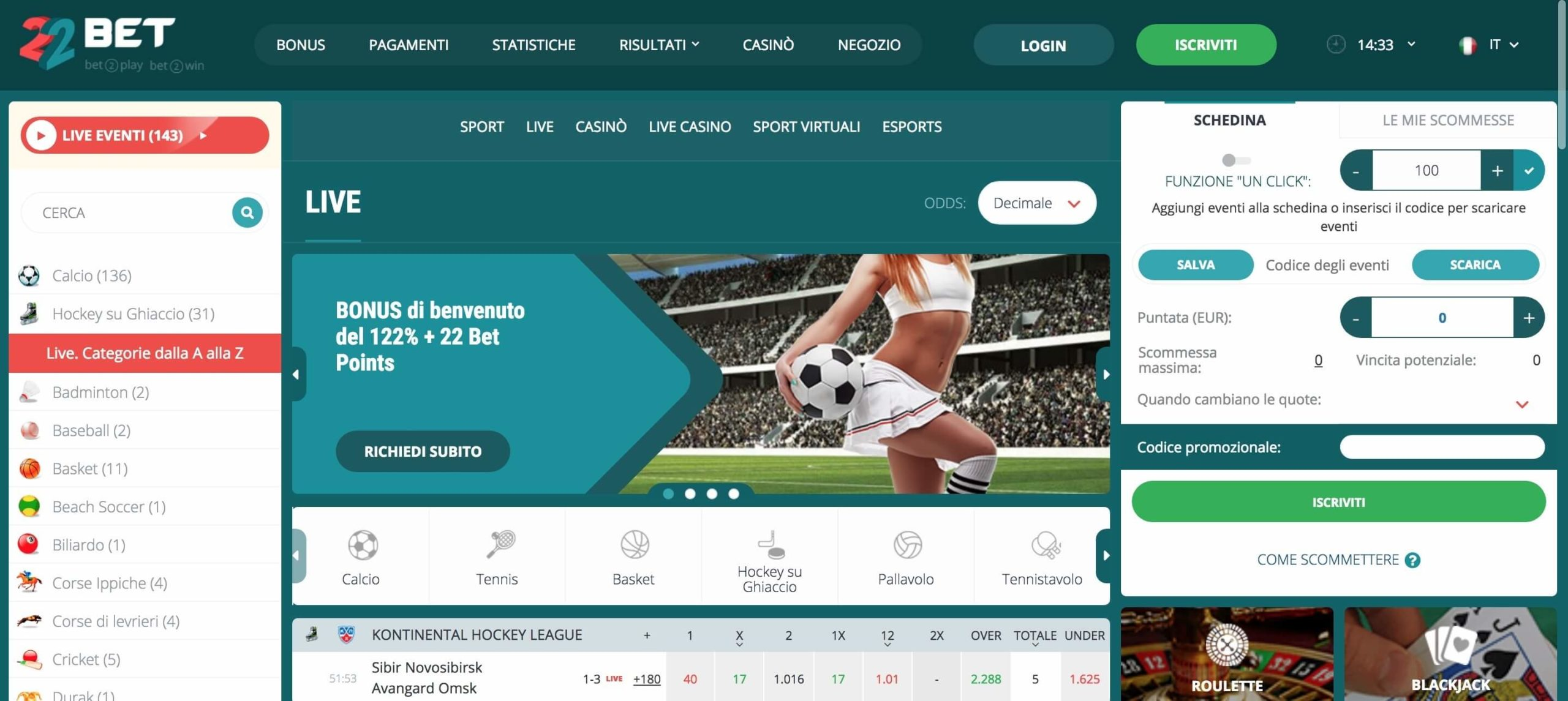 22Bet Scommesse live