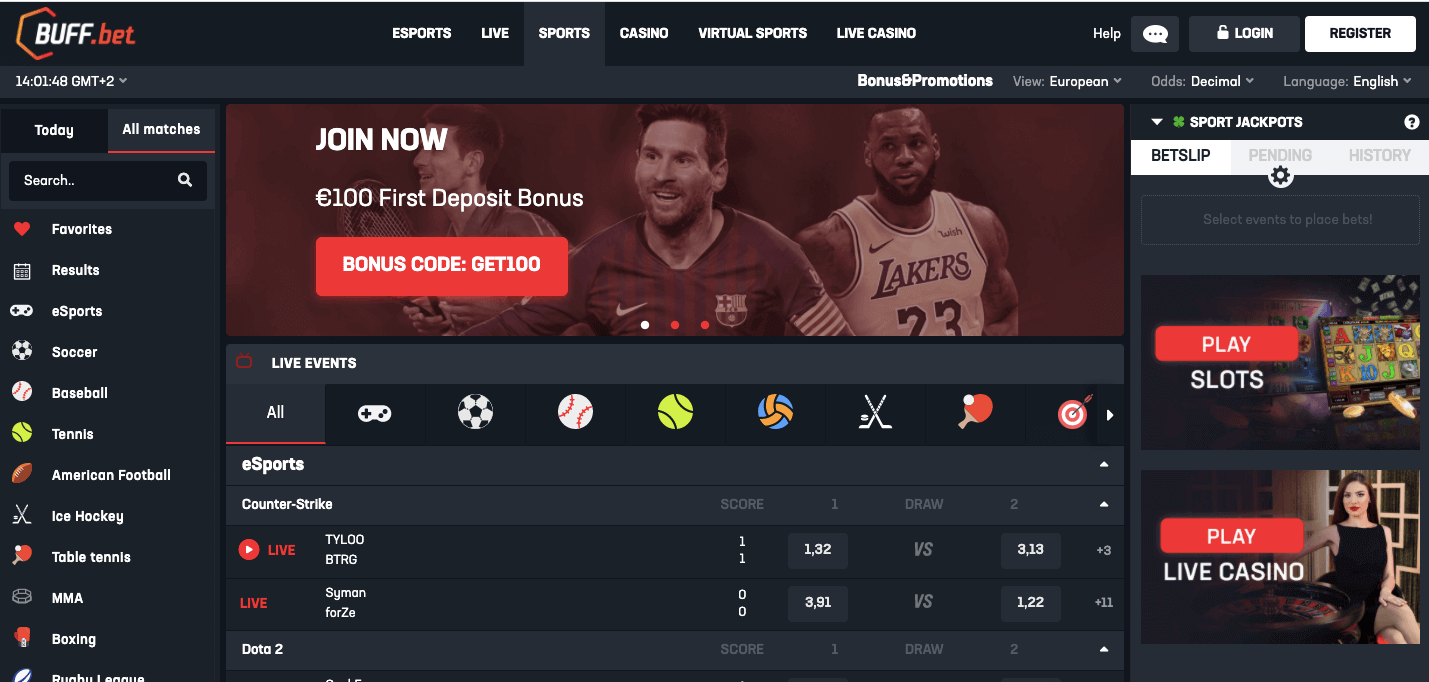 BuffBet Scommesse live